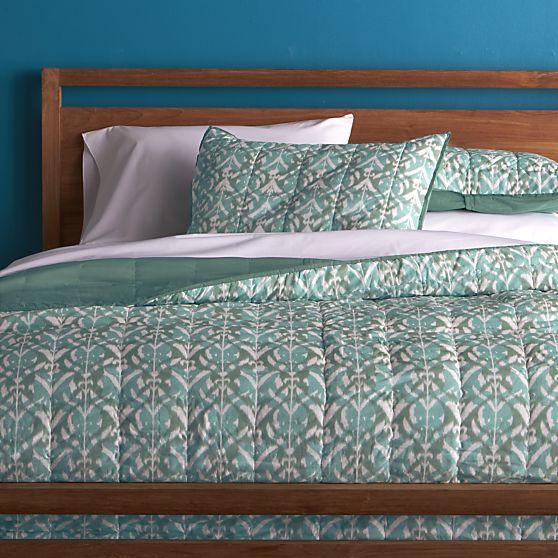 Ikat Aqua Full Queen Quilt In All Bedding | Crate And Barrel