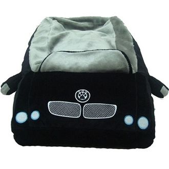 """DMW Car Dog Bed   DMW Car Dog Bed  The DMW car dog bed is for pampered pets who appreciate luxury and a comfortable place to nap. Wheel details on the sides and paw print logo on front and back. You won't be able to resist taking pictures of your dog sleeping in this bed.  Zippered cover removes for easy machine washing. Measures 32"""" long x 20"""" wide. Sleeping area 16"""" x 20"""". Price: $198.00"""