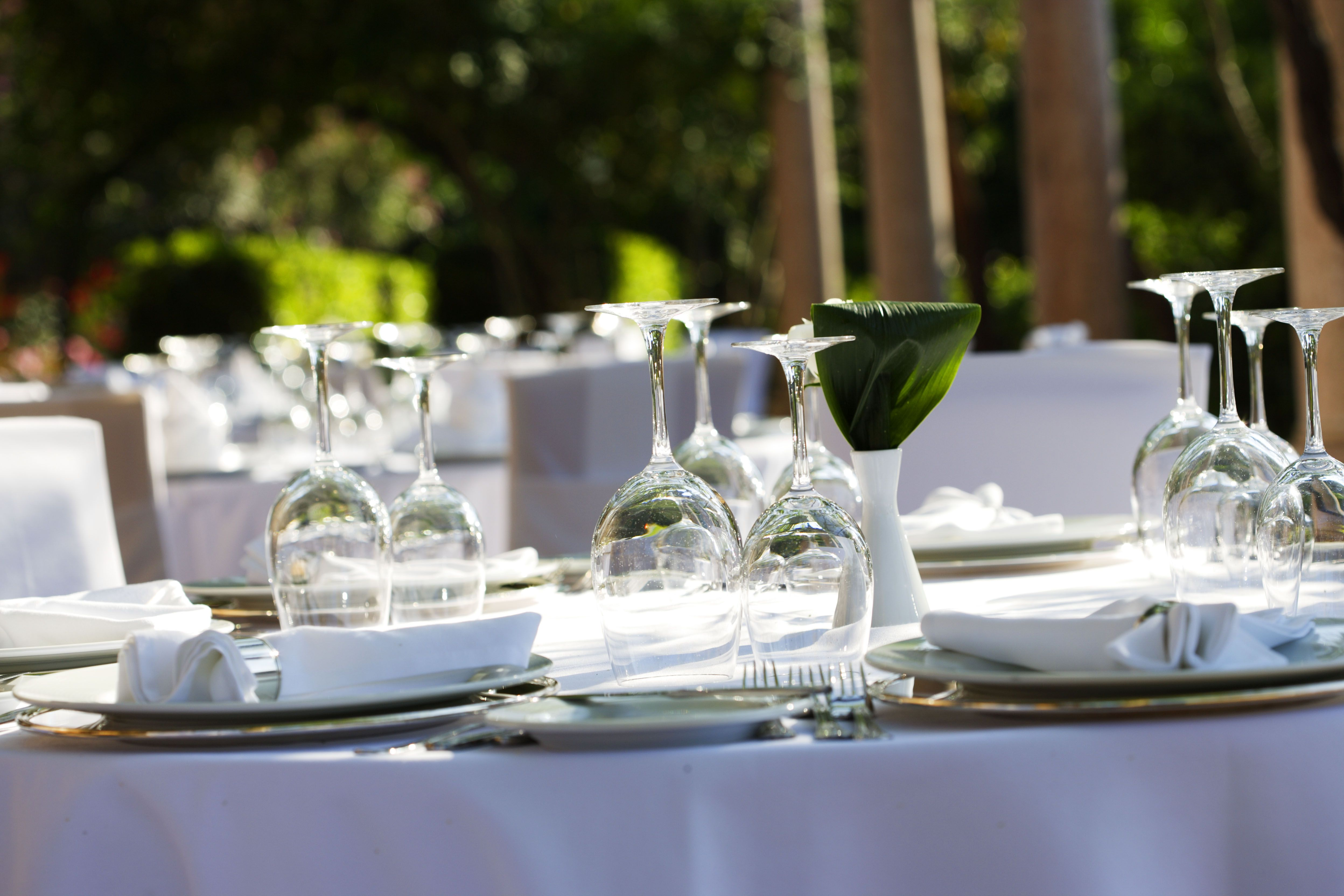 Garden wedding in Greece. Simple stunning decorations for the reception table...