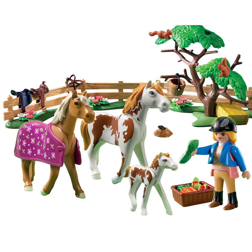 Horses Toys For Girls Birthdays : Playmobil paddock with horse and pony toys
