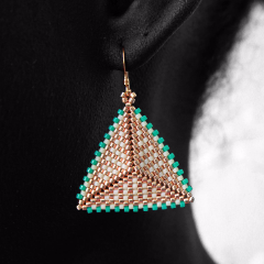 Geometric Earrings: Turquoise, Gold & Cream