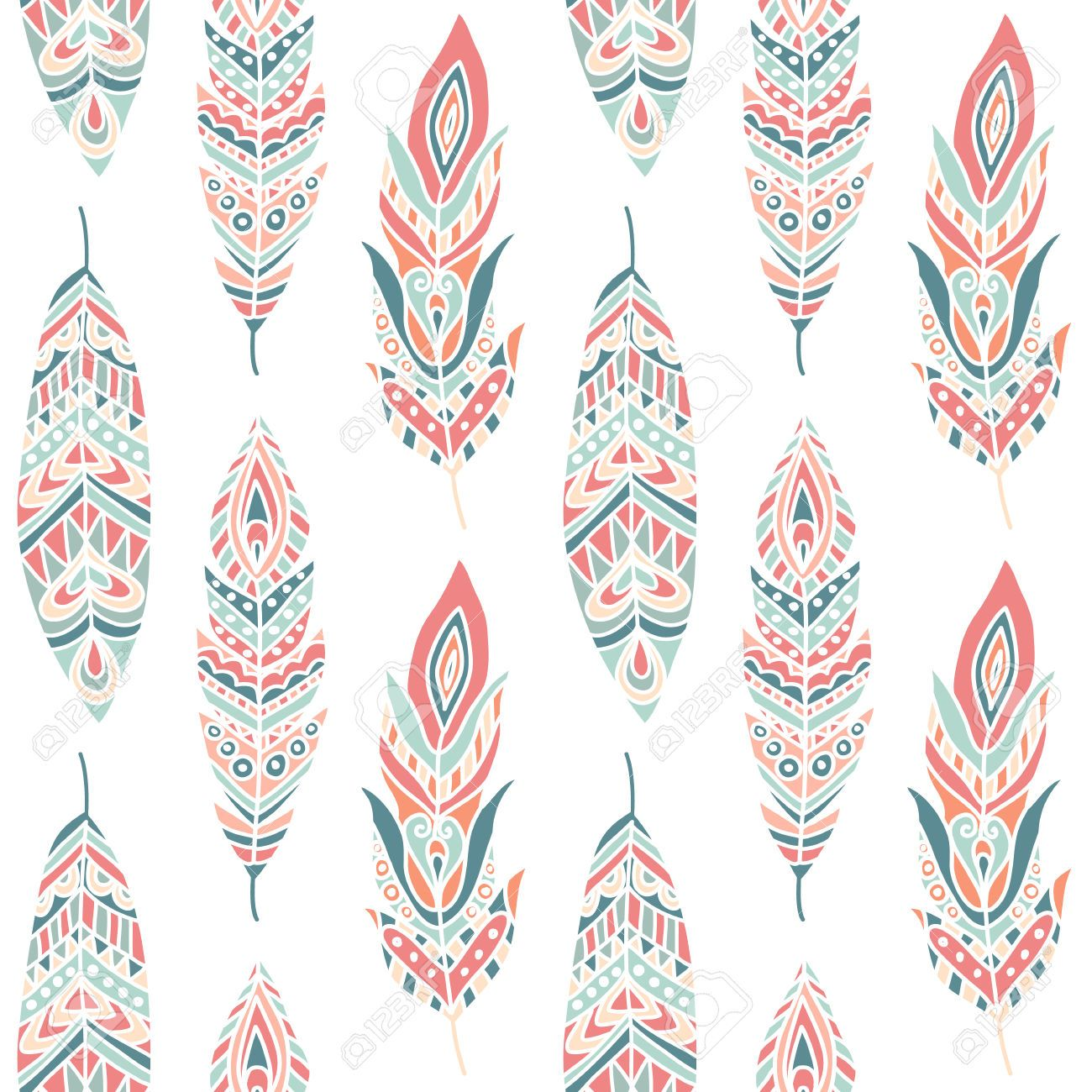 Page Background Aztec Prints Fabric Printing Hand Drawn Vector Illustrations Wallpaper Feather Pattern Ethnic Patterns Feathers