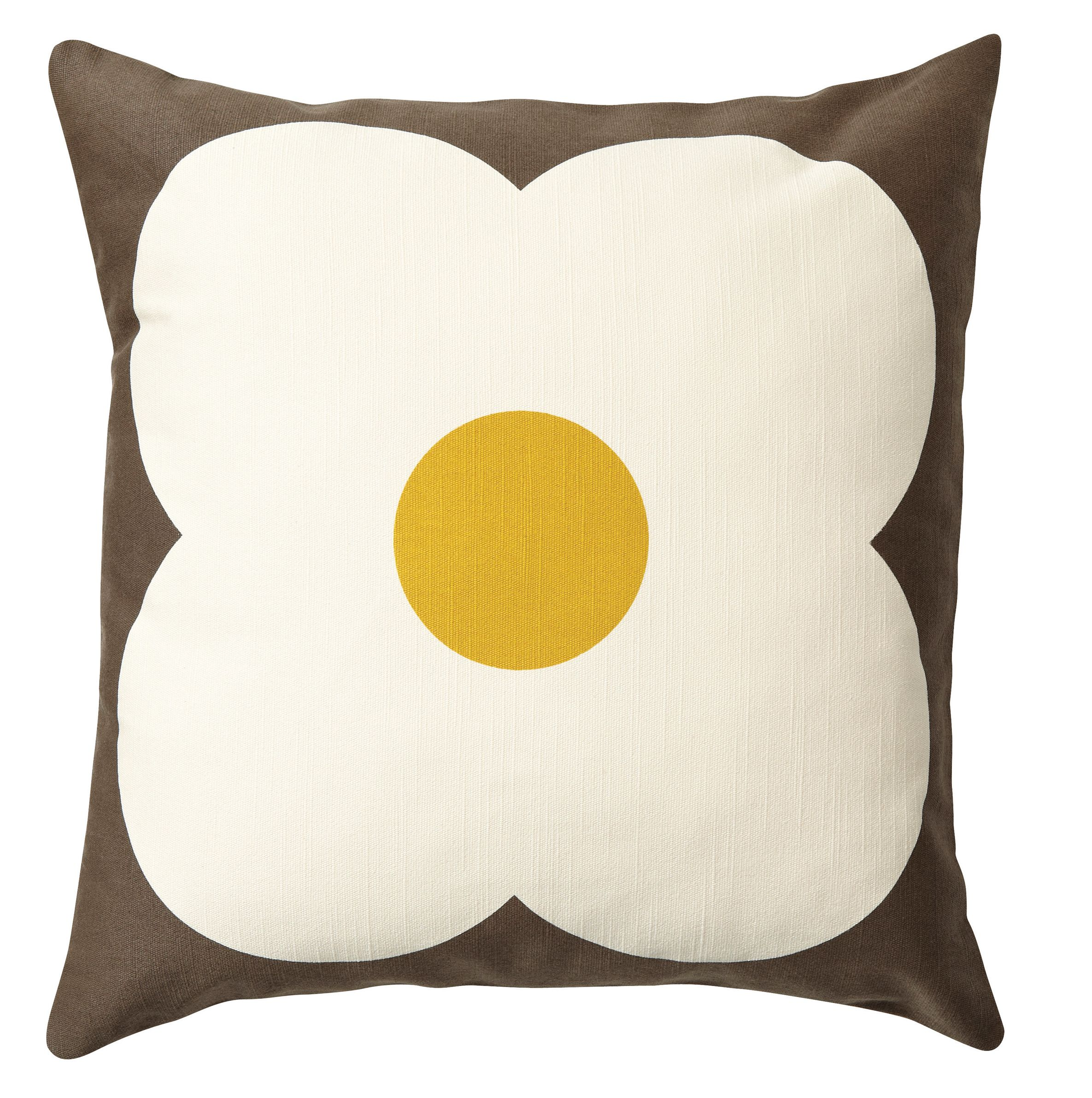 Orla Kiely Abacus Cushion Choc/Sunflower from Domayne