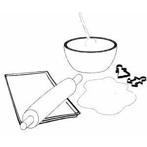 Baking Christmas Cookies free printable coloring pages