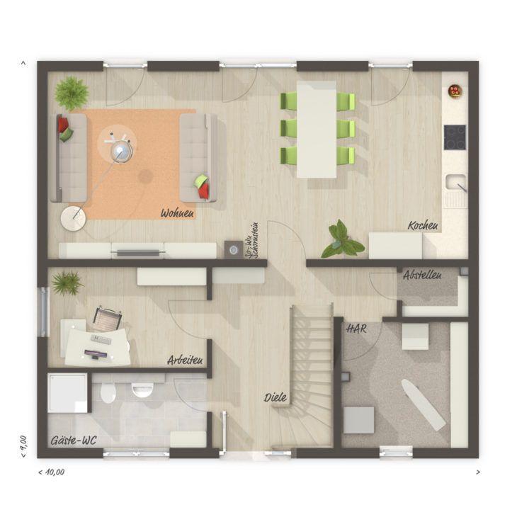 Einfamilienhaus Grundriss Erdgeschoss Küche offen & großes
