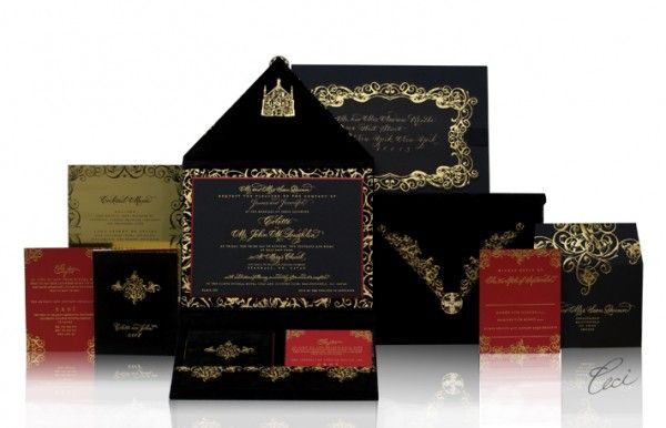 INVITATIONS Holy gorgeousness in black gold red By Ceci