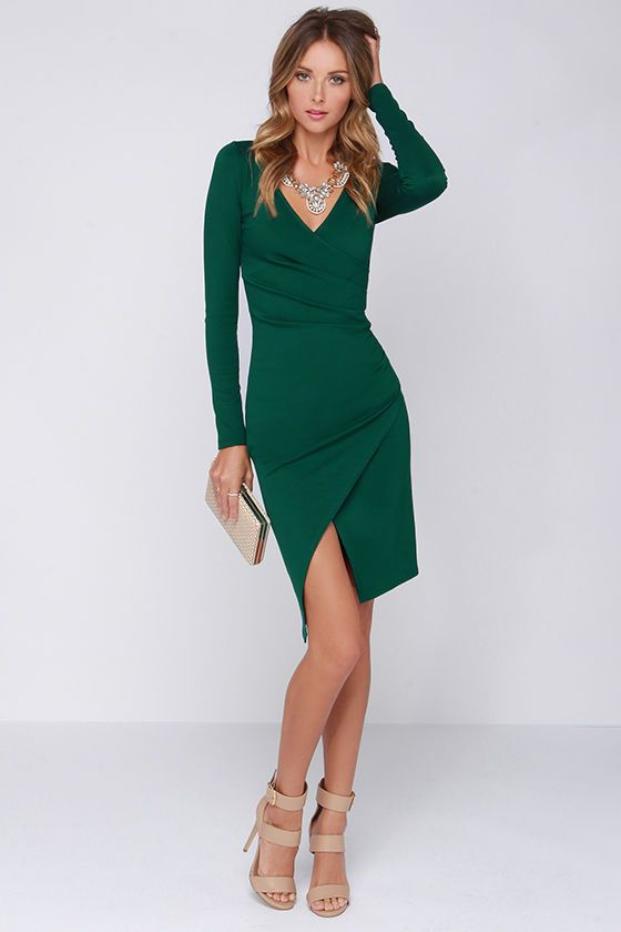 LULUS Exclusive Shakedown Forest Green Long Sleeve Midi Dress at ...