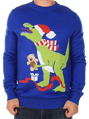 Men's Ugly Christmas Sweater - T-Rex Sweater Blue Size L