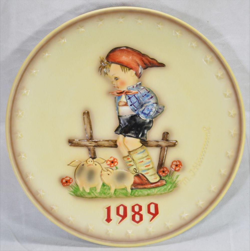 Hummel annual plate 1989 farm boy 285 hand painted w germany no box