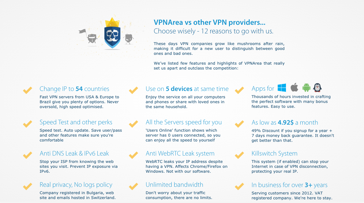 VPNArea Features and Review vpn security
