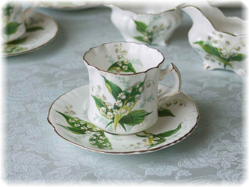 Fine Bone English China, by Hammersley, design 'Lily of the Valley'. My mother's favourite flower. JH