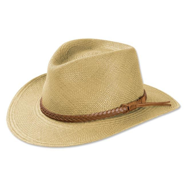 80255e19a6852 An authentic Panama straw hat shields your face from the sun and reduces  eyestrain while you survey the back forty. This rancher s-style men s hat  fends off ...