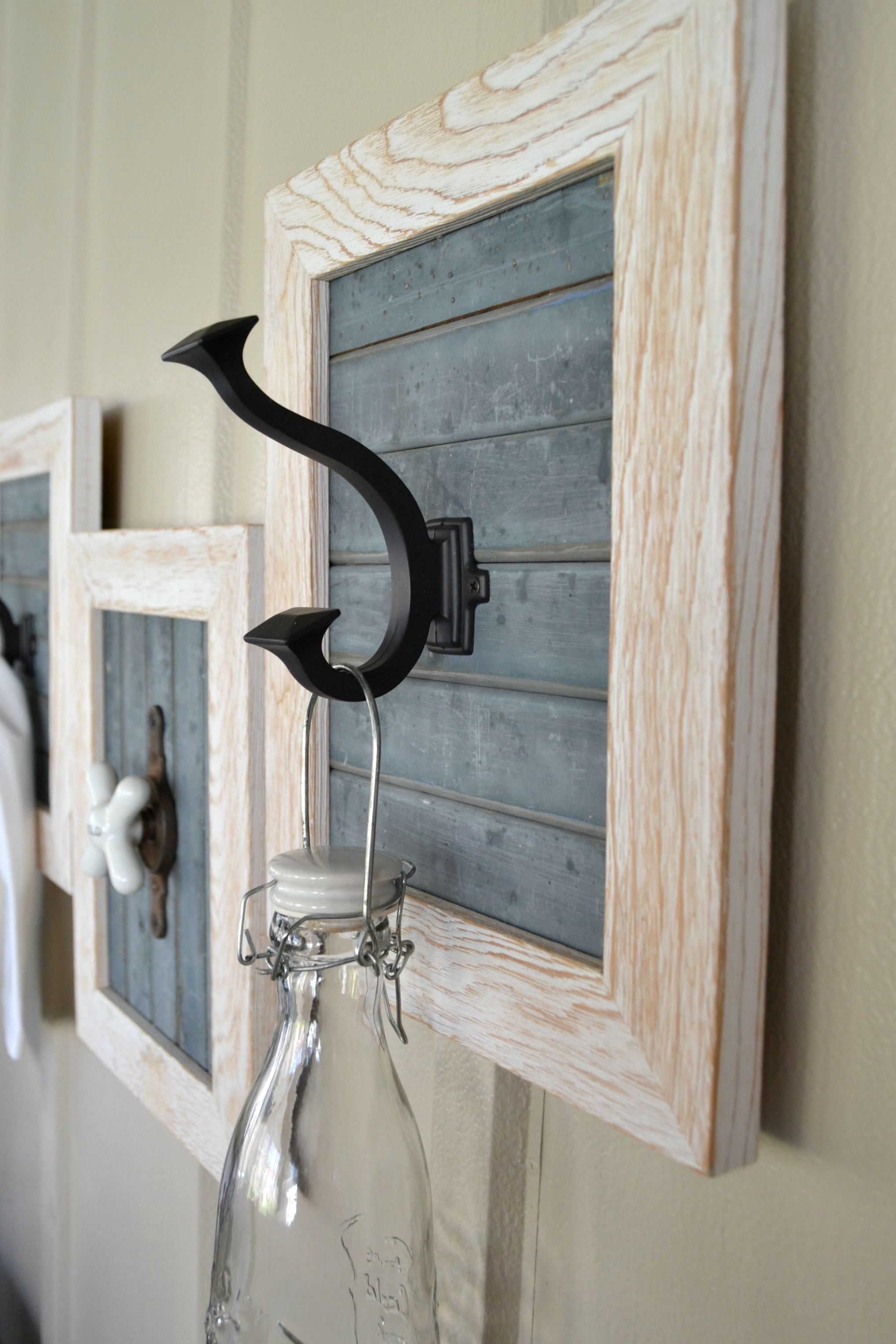 DIY Farmhouse Bathroom Hooks