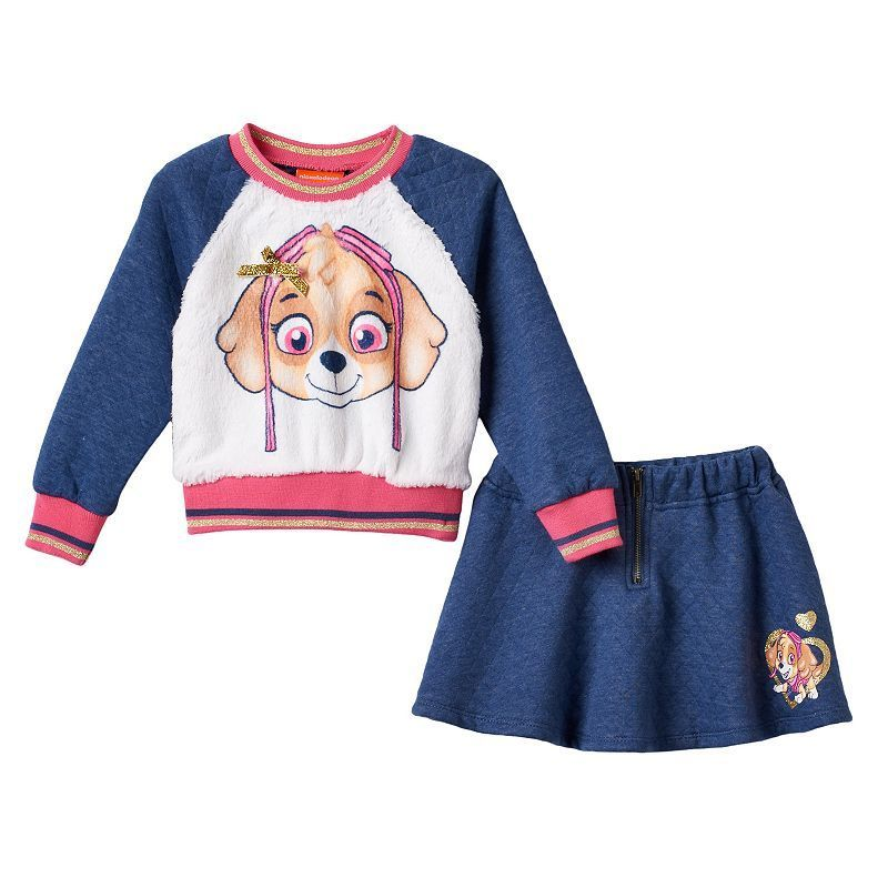Toddler Girl Paw Patrol Plush Skye Quilted Pullover & Skirt Set - Paw patrol plush, Skirt set, Toddler girl, Girl fashion, Pullover, Fashion -