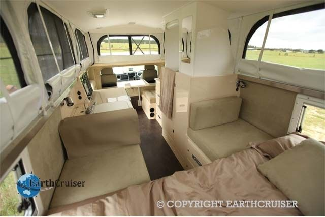 FUSO EARTHCRUISER 4X4 CAMPER Interior with the roof raised