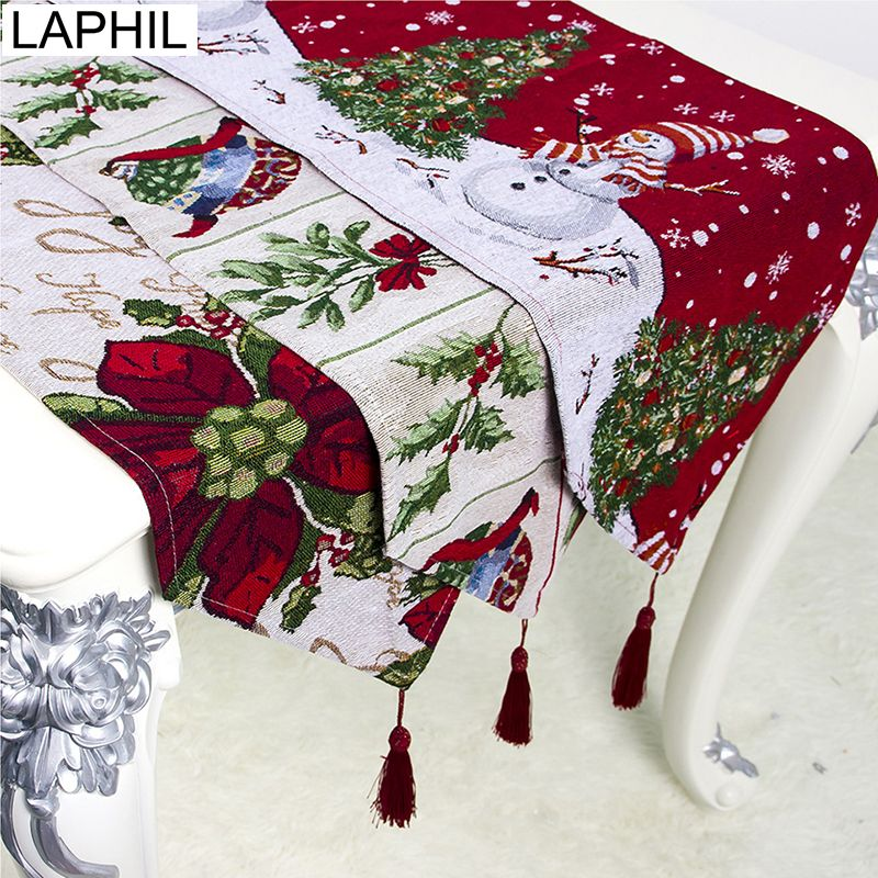 Laphil Christmas Flower Snowman Table Runner Xmas Party Dinner Table Cloth Cover Merry Christmas Decorations For Home Navidad Dinner Party Decorations Dinner Party Table Xmas Party