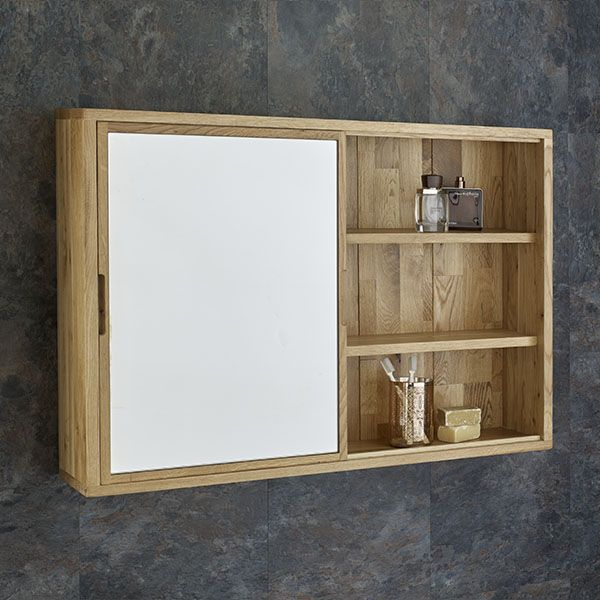Sliding Door 800mm Wide Solid Oak Mirror Bathroom Cabinet And Shelves In 2020 Bathroom Mirror Cabinet Mirror Cabinets Bathroom Wall Cabinets