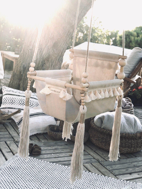 Baby Swing Fringed Tasseled High Back Indoor Outdoor Boho Etsy In 2020 Baby Swings Toddler Swing Boho Nursery Decor
