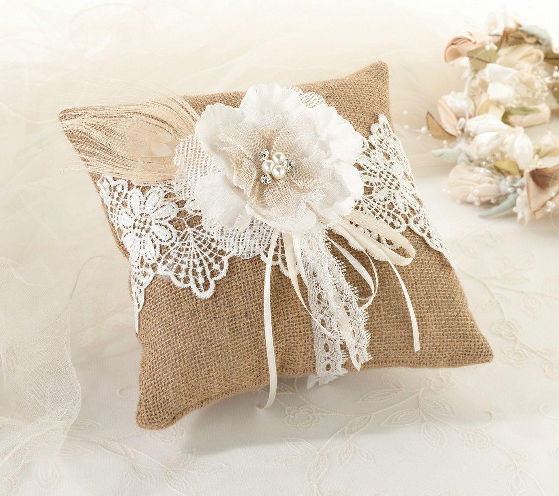 Burlap Lace Wedding Ring Pillow Burlap lace Ring pillows and