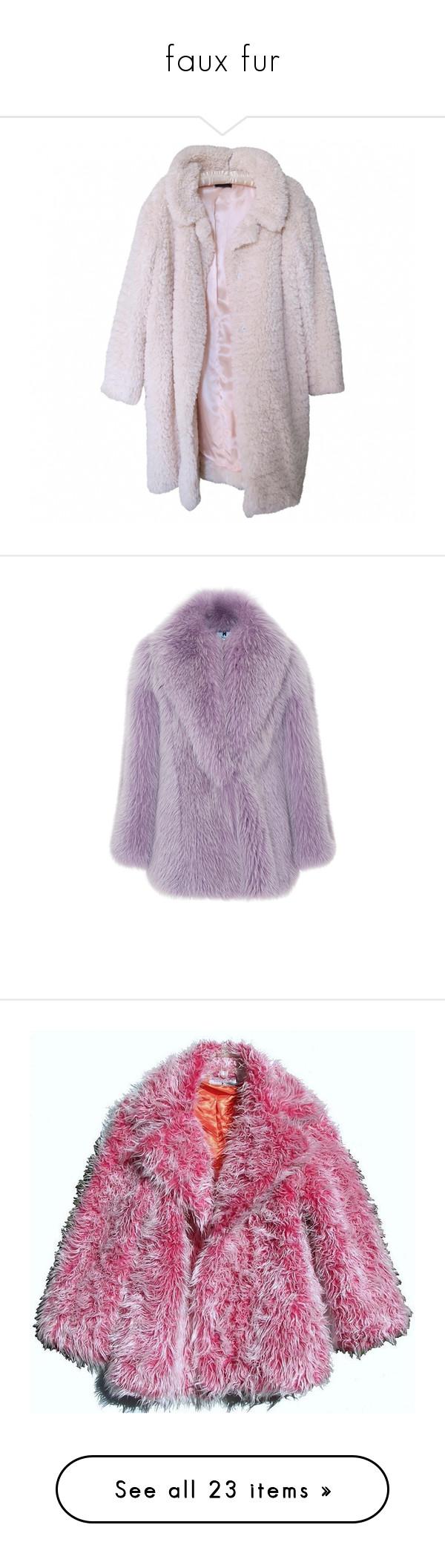 """faux fur"" by yourlocalhuman ❤ liked on Polyvore featuring outerwear, coats, tops, jackets, imitation fur coats, nina ricci coat, oversized coat, nina ricci, pink oversized coat and shawl collar coat"