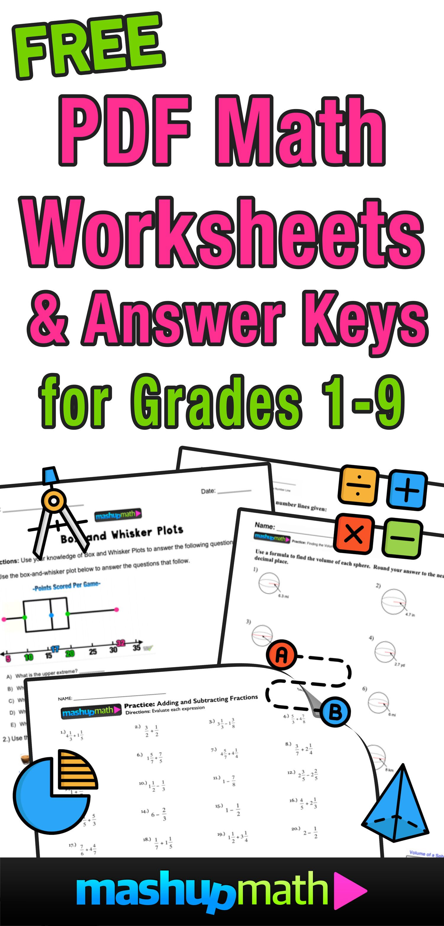 Free Math Worksheets Mashup Math In