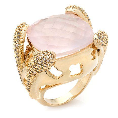 Bellezza 23.48ct Rose Quartz and CZ Bronze Raised Ring Like the setting, do I have a 21k stone?