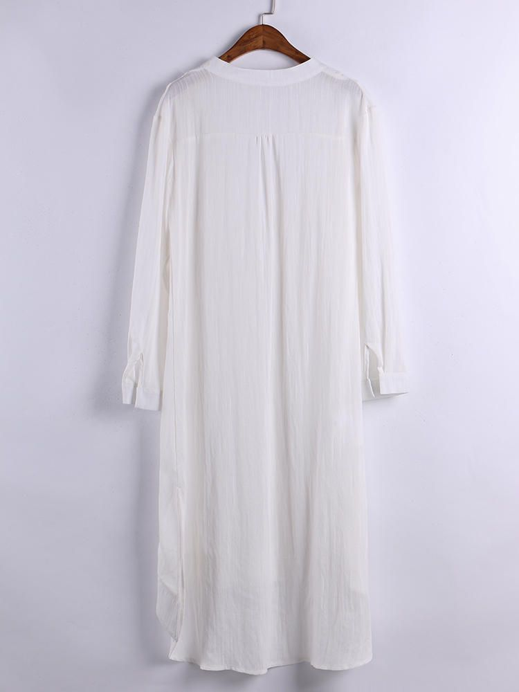 7cdfb3f91d4 Plus Size M-6XL V-neck Long Sleeve Side Split Shirt Dress