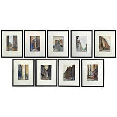 Set of Nine Original Watercolor Paintings of Paris Streets and Buildings | From a unique collection of antique and modern paintings at https://www.1stdibs.com/furniture/wall-decorations/paintings/
