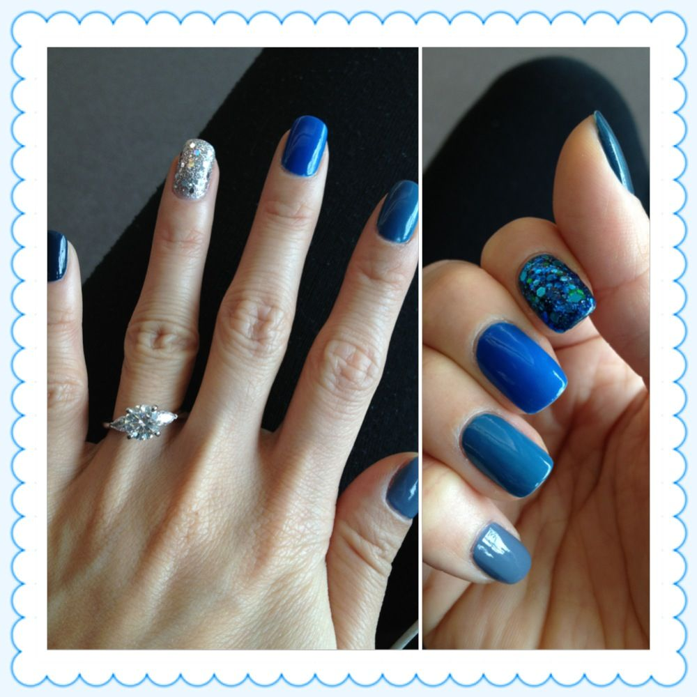 different shades of blue nail polish :) | { all about nails