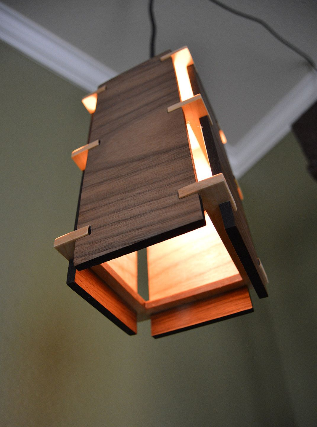 Square Wooden Pendant Light Wood Lamps Wooden Diy Wooden