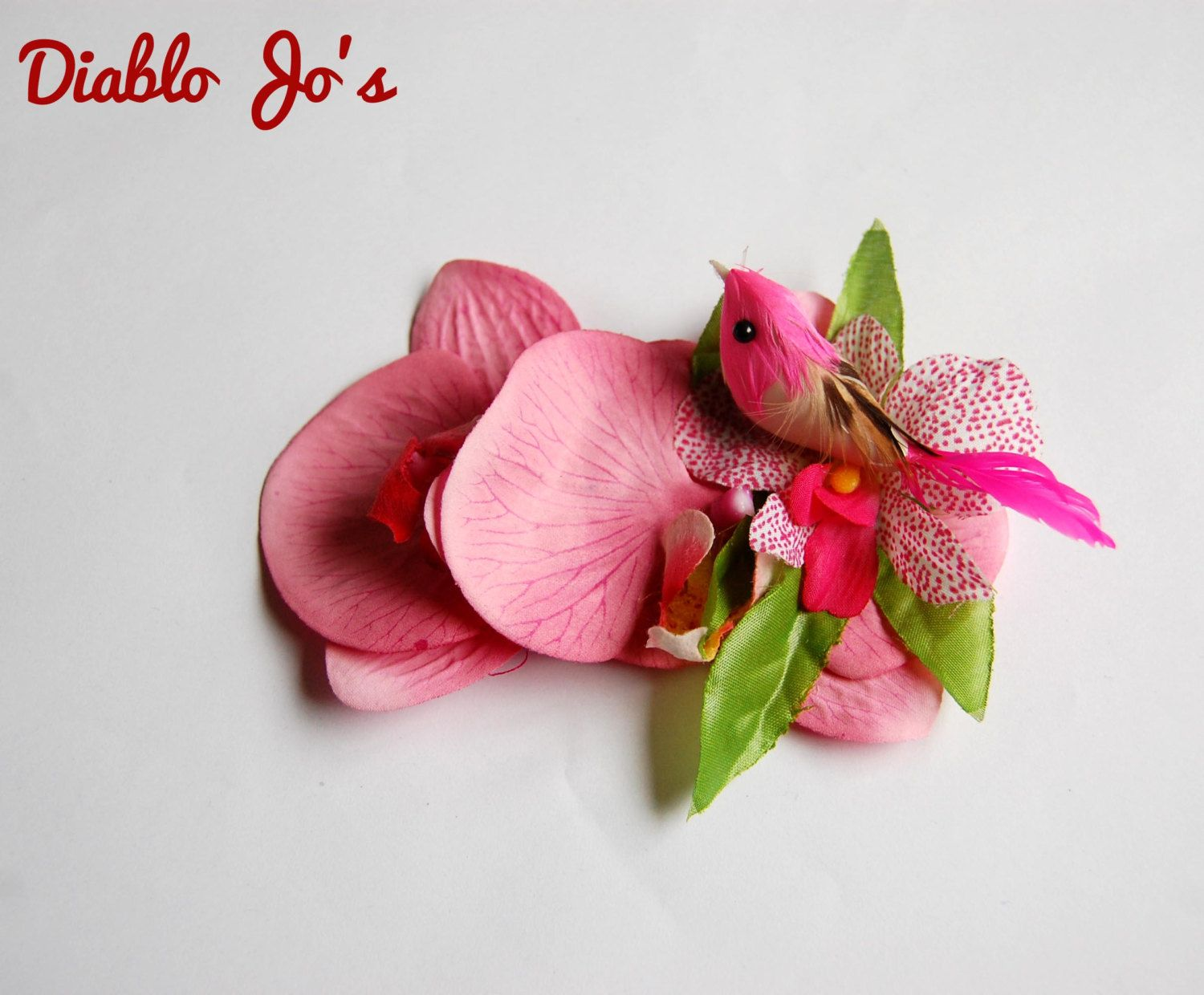 Tropical Bird Pink Hair Flower Pin Up Rockabilly Vintage Hair By