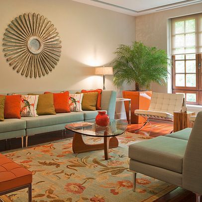 Grey Green Orange Living Room Design Ideas, Pictures