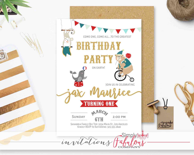 Circus Birthday Party Invitation, Circus First Birthday Invitation ...