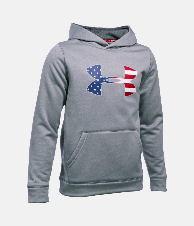 Boys Ua Storm Armour Fleece Big Flag Logo Hoodie True Gray Heather Zoomed Image Hoodies Geek Hoodies Sweatshirts Menswear