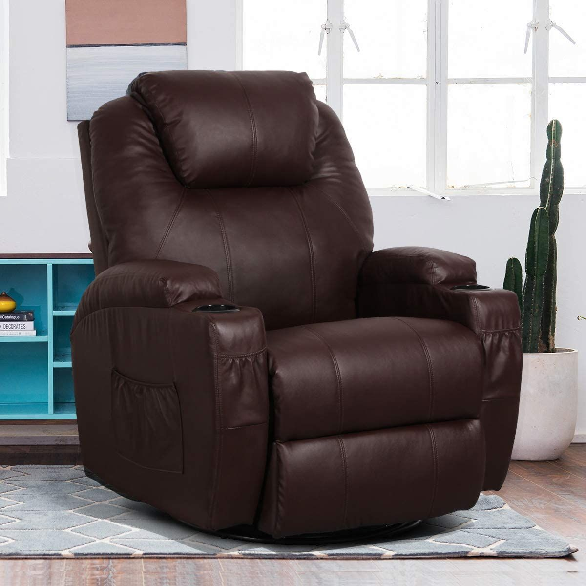 YODOLLA 360° Swivel & 140° Recling Massage Recliner Sofa