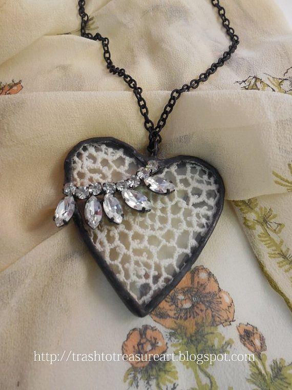 Soldered Heart Vintage Lace Necklace