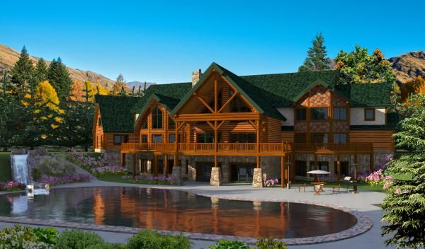 If You Are Looking For A House Plan Over 15 000 Square Feet The Log Mansion Is For You This Is Golden Eagle Log Ho Mansions Luxury House Plans Mansions Homes