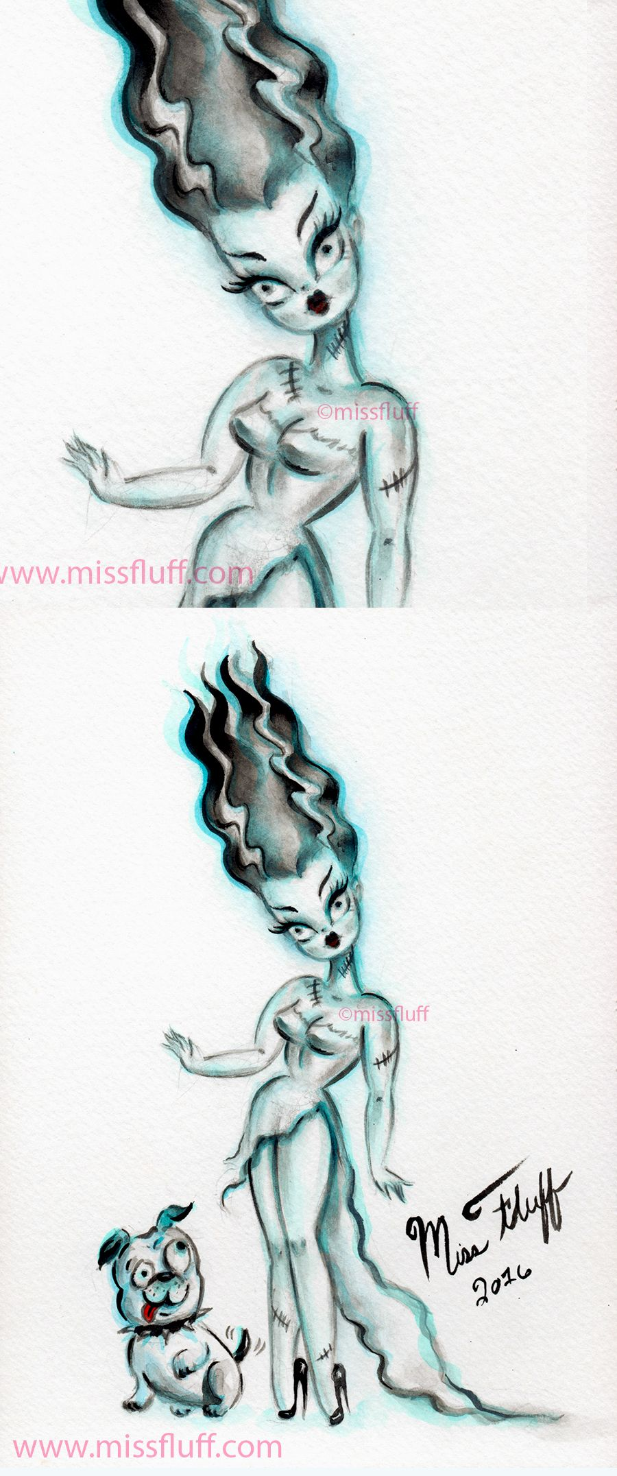 The Bride of Frankenstein with Igor as a bulldog. Original Art by ...