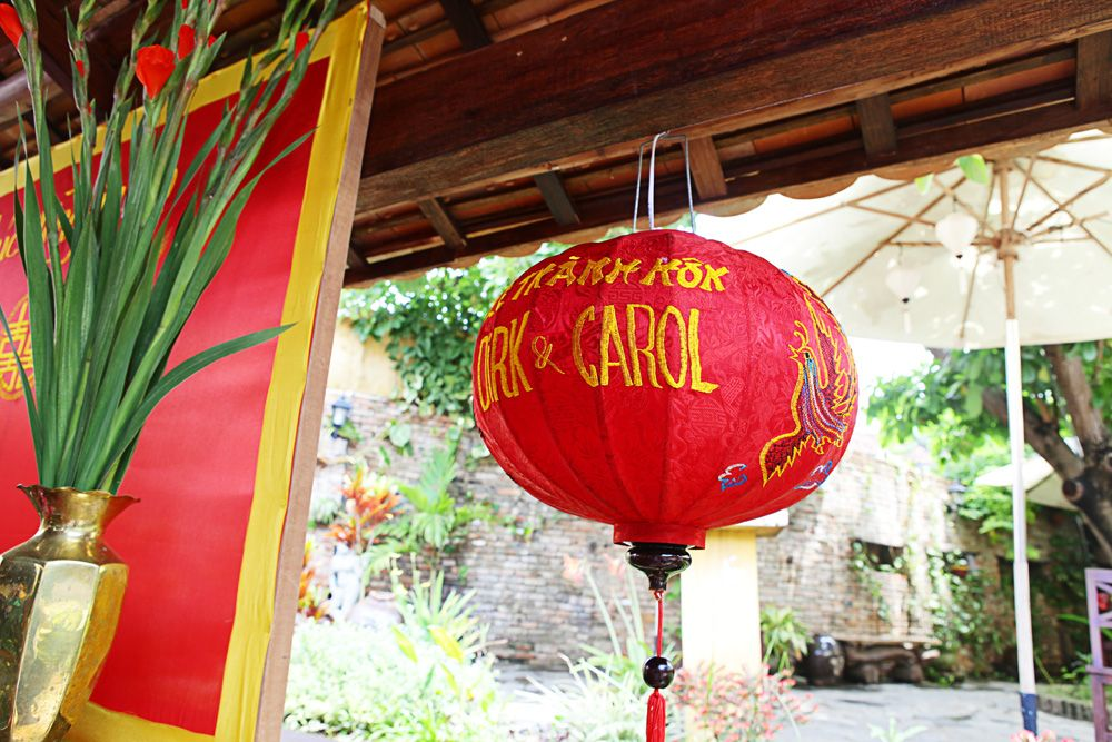 Red Paper Lantern Decoration At A Vietnamese Tea Ceremony Hoianeventsweddings Hoian Paper Lantern Decor Paper Lanterns Tea Ceremony