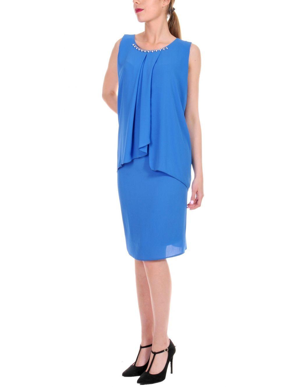 2e7efa2d879c VETO Αμάνικο μπλέ ρουά φόρεμα