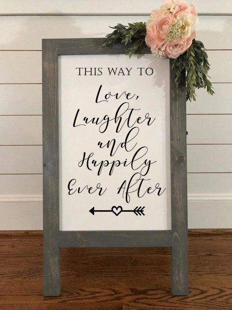 Love Laughter and Happily Ever After Gray Farmhouse Easel | Etsy