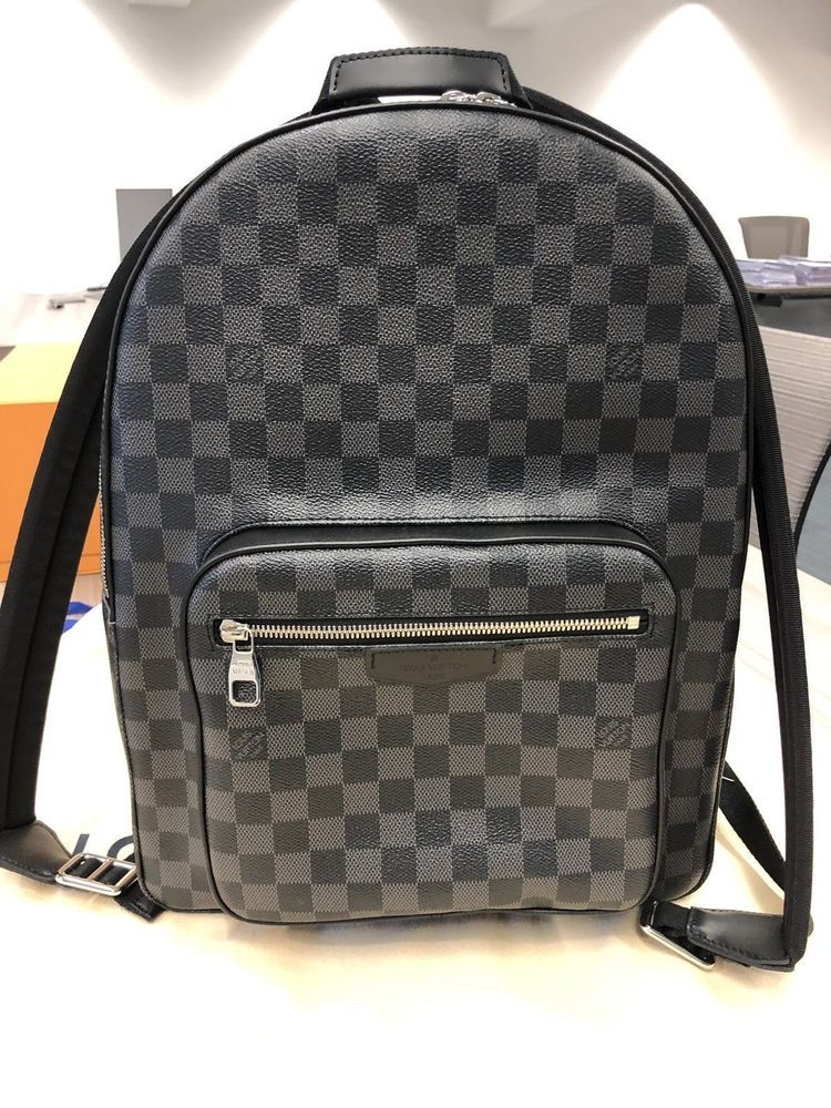 Louis Vuitton Mens JOSH Damier Monogram Graphite Canvas Leather Backpack   fashion  clothing  shoes 073e73ba413