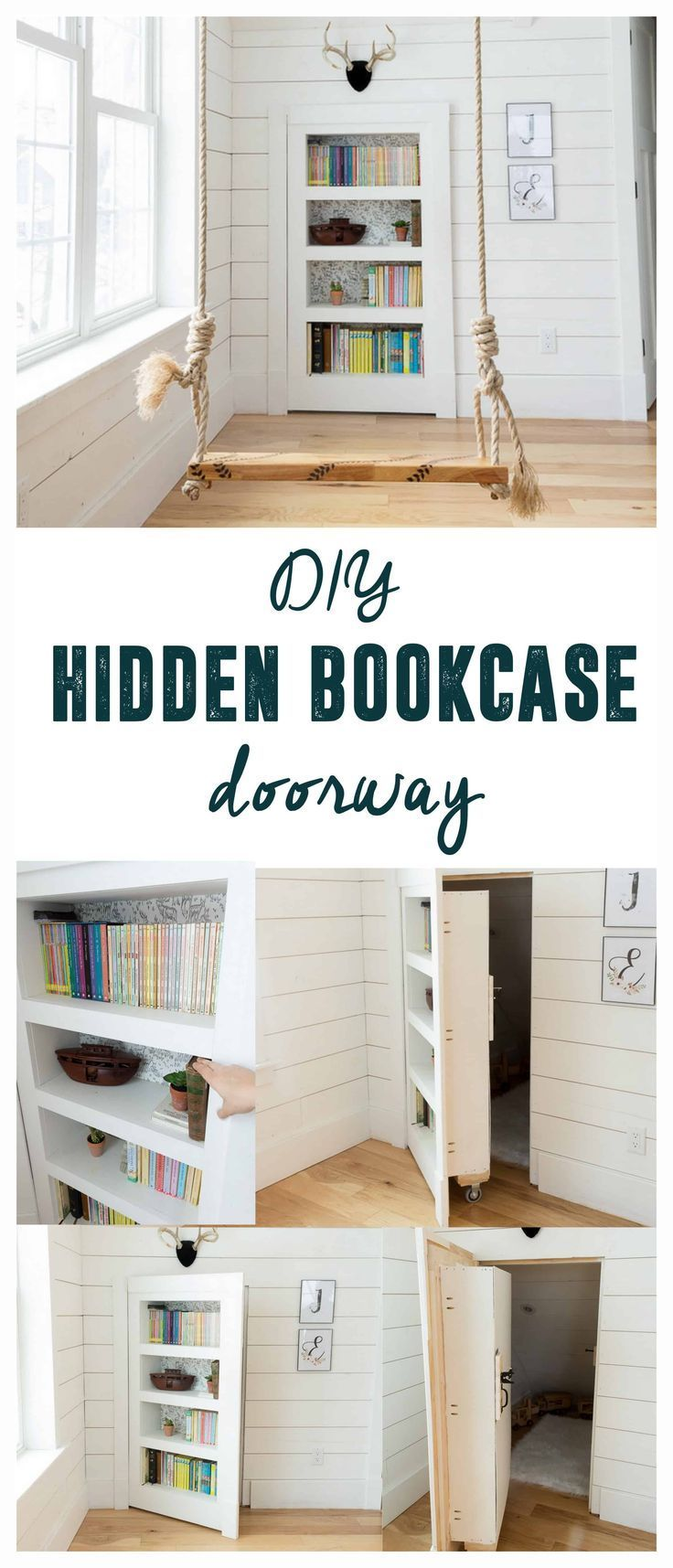 DIY Hidden Doorway Bookcase | Bookshelf Door, Living Room Redo And Secret  Doors