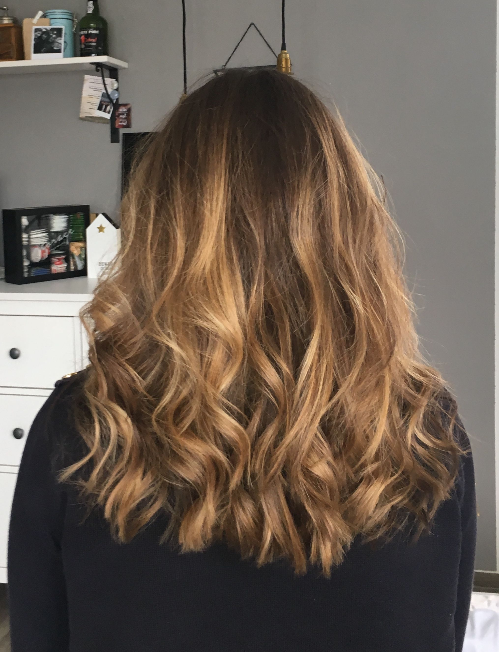 Frisur Mittellanges Haar Ombre Balayage Locken Frisuren
