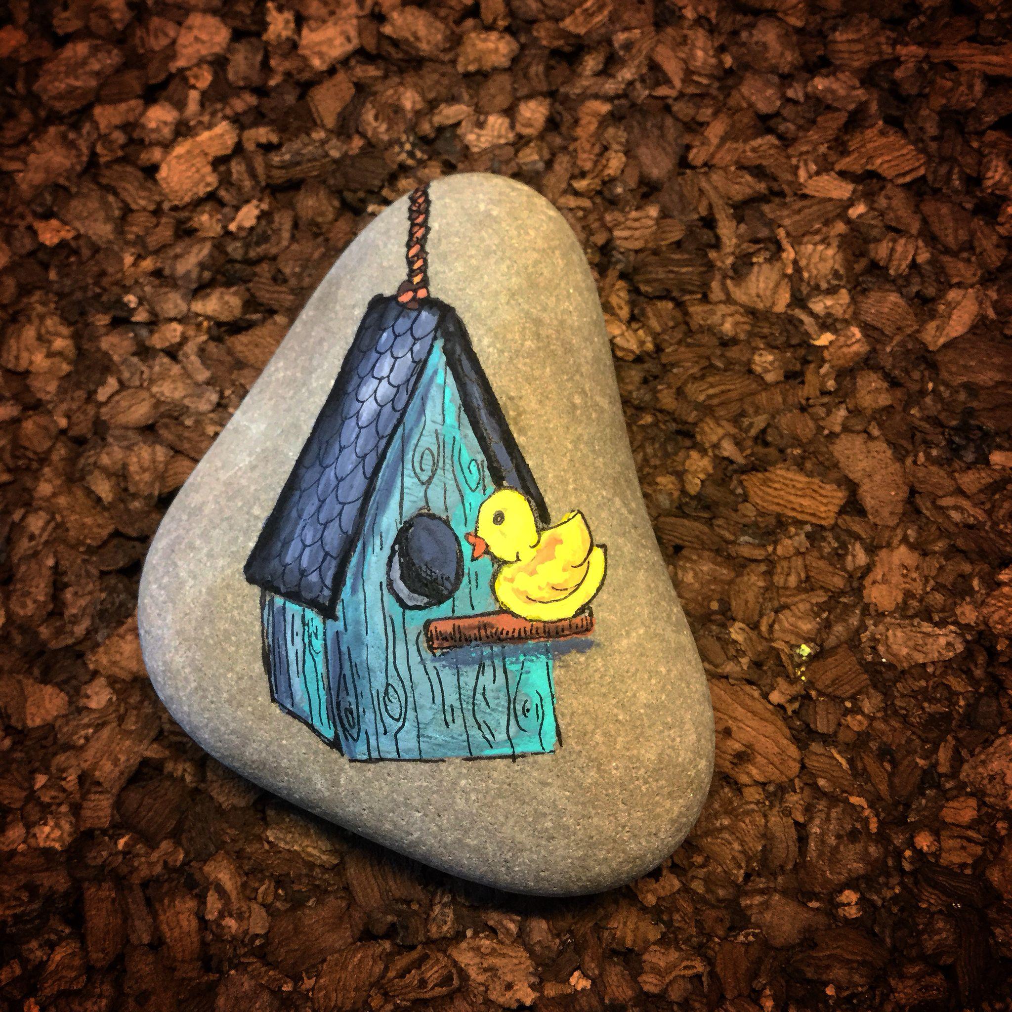 Birdhouse by lene mortensen painted rocks craft