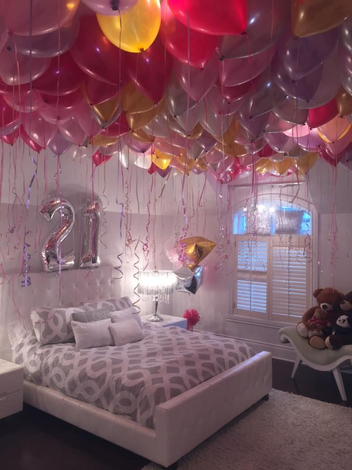 So For Her 21st Birthday The Whole Ceiling Of Room Was Covered With Balloons Inflated Helium A Simple Idea But Pretty