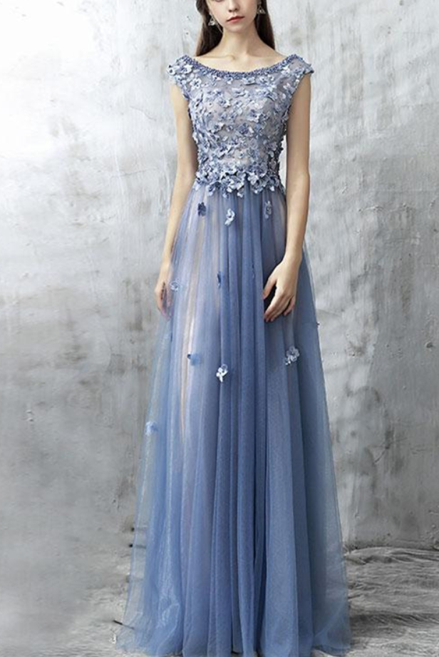 ea30c9f3c56 Blue Lace Applique Beads Tulle Long Prom Dress