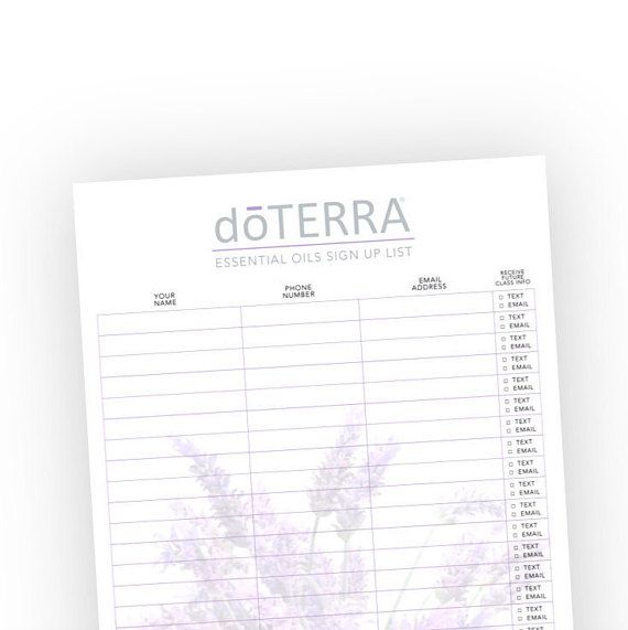 DoTerra Sign Up List Essential Oil Class Sign Up Form | DoTeera ...