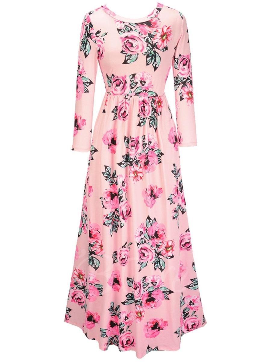 Long sleeve flowers printed womens maxi dress