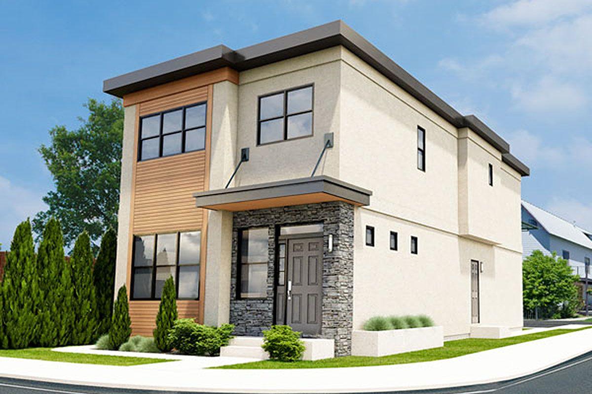 Plan 67715mg Stylish Duplex Narrow Lot House Plans Duplex House Plans Duplex Floor Plans